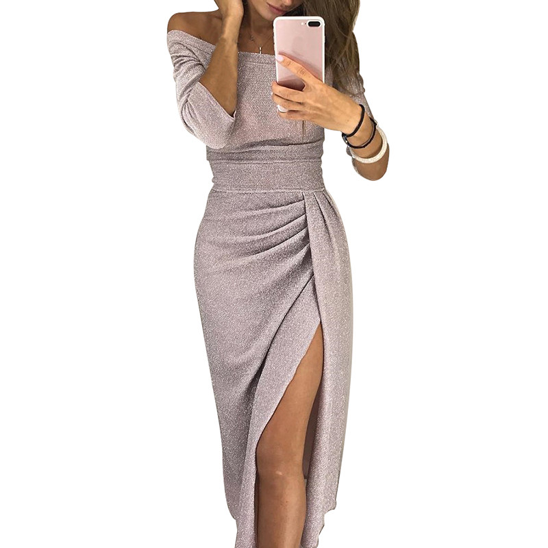 <font><b>Off</b></font> <font><b>Shoulder</b></font> <font><b>Sexy</b></font> Split <font><b>Bodycon</b></font> Midi Dress Women Shiny Luxury Long <font><b>Party</b></font> Dresses Autumn Winter <font><b>2018</b></font> <font><b>Elegant</b></font> Dress <font><b>Club</b></font> Wear image