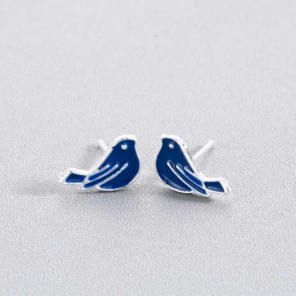 Qiming Blue Bird Stud Earrings For Women Peace Love Animal Fashion Design Girls Baby Children Jewelry Birthday Gift Earring Aliexpress