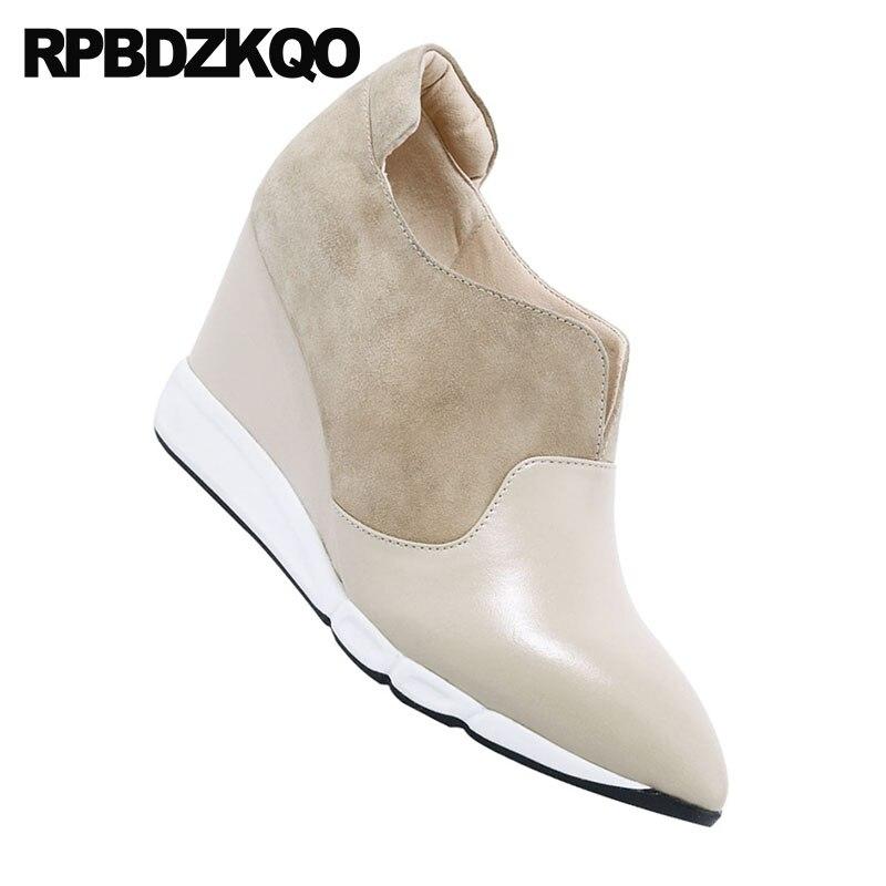 Dedo do pé apontado 8cm mulheres nude tamanho 4 34 2018 camurça escritório cunha sapatos senhoras bombas de couro genuíno tornozelo botas de salto médio alta - 6