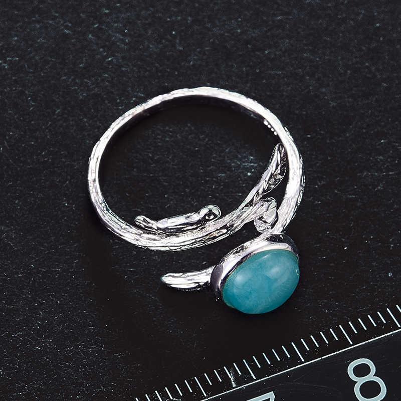 Lotus Vui Thật Nữ Bạc 925 Đá Aquamarine Tự Nhiên Handmade Ban Đầu Thiết Kế Mỹ Trang Sức đồng hồ Nữ Nhẫn BIJOUX