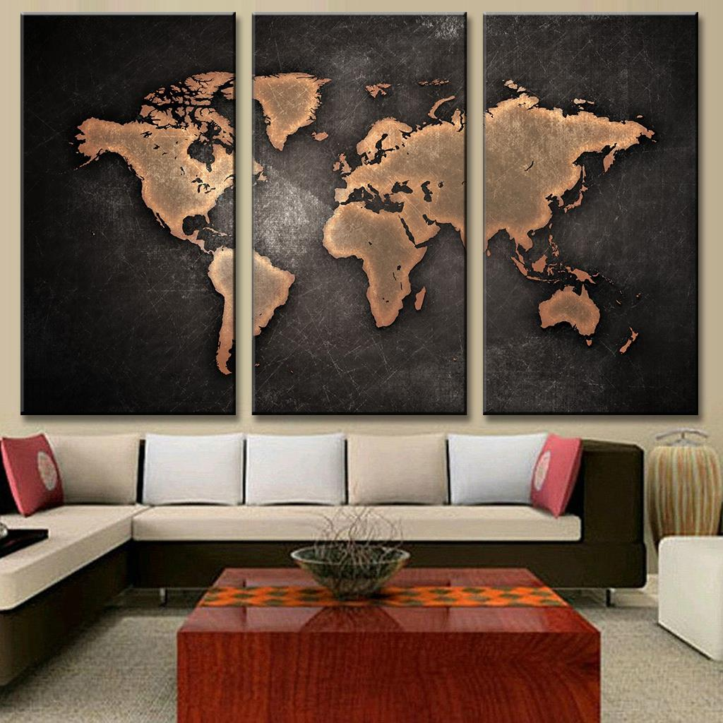 3panel prints large vintage world map abstract oil painting on new 3 pcsset classical black world map print on canvas abstract world map canvas gumiabroncs Choice Image