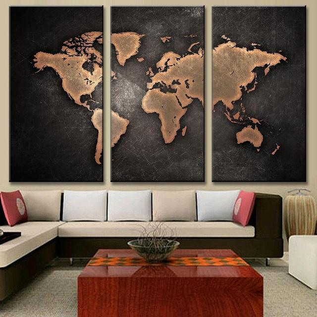 New 3 pcsset classical black world map print on canvas abstract new 3 pcsset classical black world map print on canvas abstract world map canvas freerunsca Images