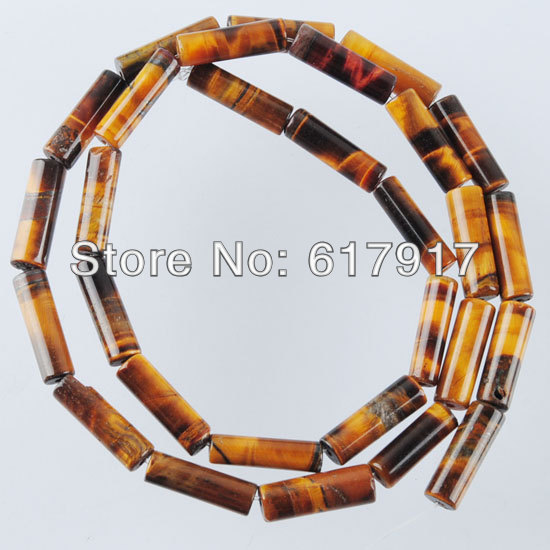 "Free shipping Natural Tig ers Eye Gem stone Column Loose Spacer Beads 15.5"" Strand 4x13mm Jewelry Making TG1166"