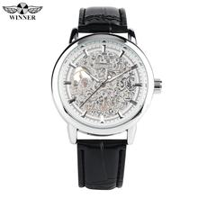Stylish Silver Hollow Case Hand-wind Mechanical Watch for Men Black Leather Band Watches for Teenagers Creative Gift Watches shenhua 2698 men s stylish analog mechanical wristwatch w pu leather band black 1000pcs