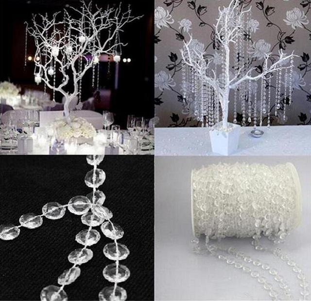 Crystal Clear Bead String Strands For Garland Chandelier Gift Craft Birthday Wedding Party Table Centerpieces Decoration