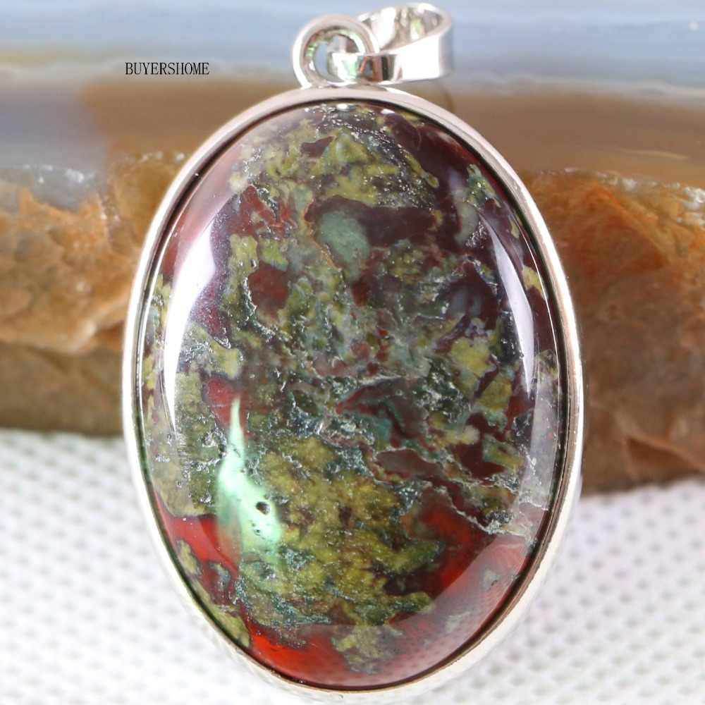 จัดส่งฟรี Silver สีธรรมชาติลูกปัดสีแดงมังกรเลือดหินสร้อยคอจี้ 1 Pcs K674