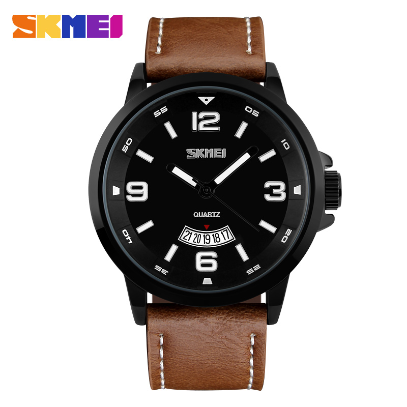 SKMEI 9115 Men Quartz Luxury Watch Man 2016 Water Resistant Leather Wristwatches Fashion Casual Top Brand