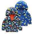 Toddler Kid Boy Waterproof Strombreak Windproof Hooded Jacket Children Rain Coat Clothes 3-7Y