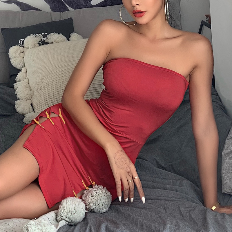 Women Sexy Sleeveless Solid Boob Tube Top Cheongsam Dress Evening Party Stretch Pencil Dresses Lady Girls Strapless Sexy Dress in Dresses from Women 39 s Clothing
