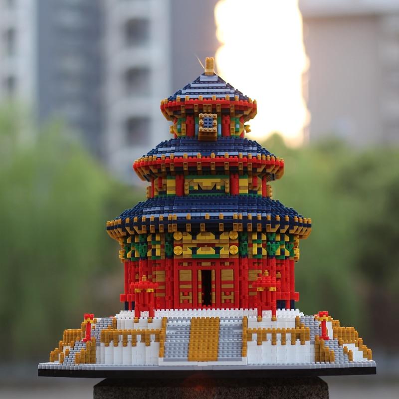 Yz 세계 유명한 건축 중국 천국의 사원 3d 미니 diy 다이아몬드 빌딩 작은 블록 아이들을위한 벽돌 장난감 상자 없음-에서블록부터 완구 & 취미 의  그룹 2