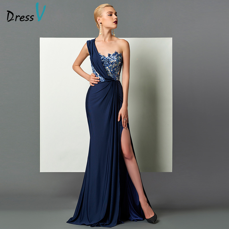 Dressv dark navy long   evening     dress   split front draped sequins appliques one shoulder sweep train formal party   evening     dresses