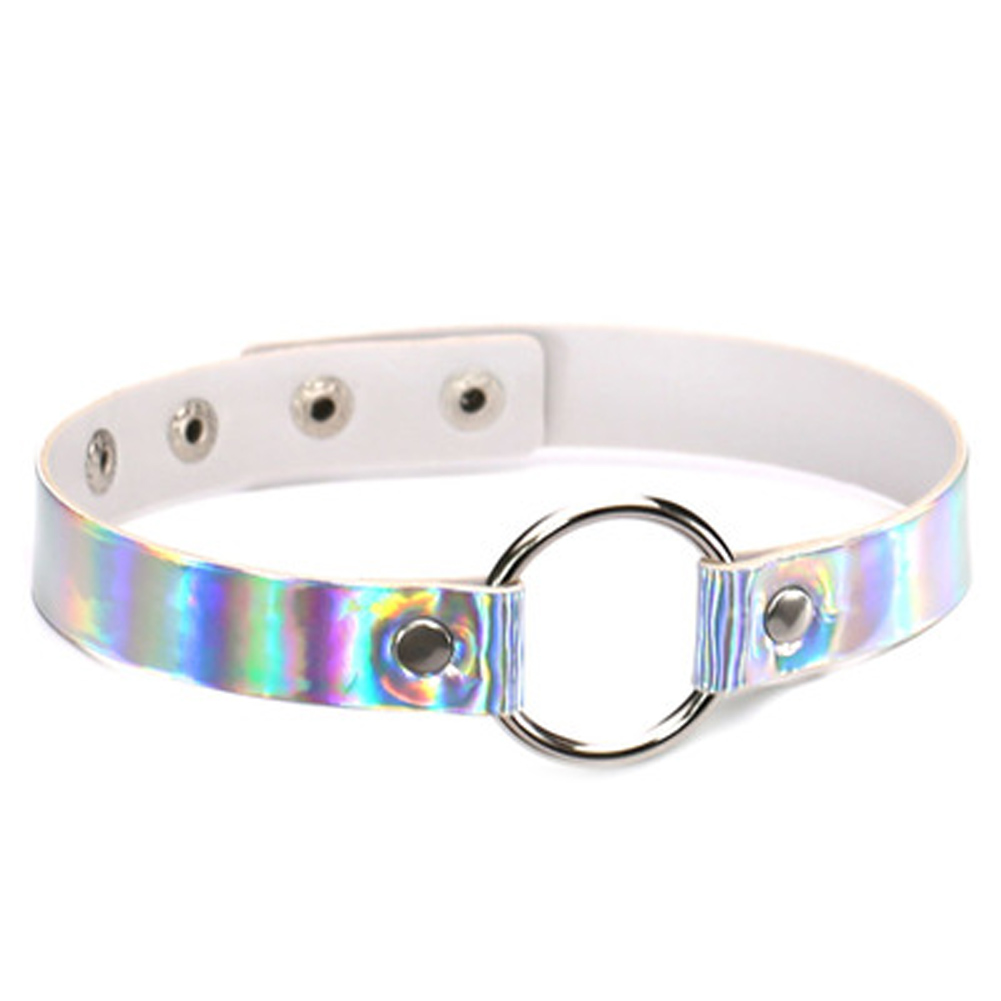 Trendy Holographic Choker PU Leather Chocker Handmade Metal Laser Chocker Rainbow Punk Gothic Necklace Gift for Women