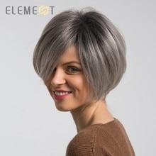 Element 6 дюймов Синтетические парики микс 50% человеческие волосы Омбре серый красный цвет левая сторона расставание натуральный головной убор Glueless парик для женщин