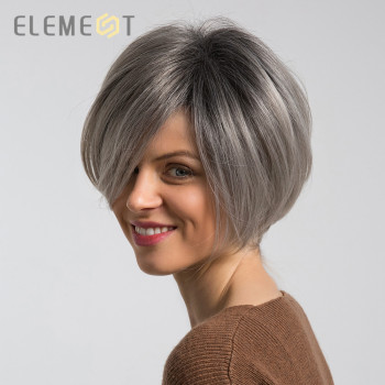 Element 6 inch Short Synthetic Wigs Mix 50% Human Hair Ombre Grey Red Color Left Side Parting Natural Headline Wig for Women цена 2017