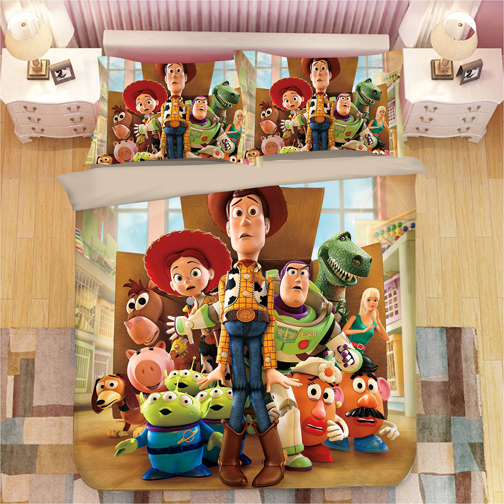 US $46.35 24% OFF|Woody Buzz Lightyear Toy Story bedding set full size  duvet cover set for kids home decor twin queen size bed covers king  linens-in ...