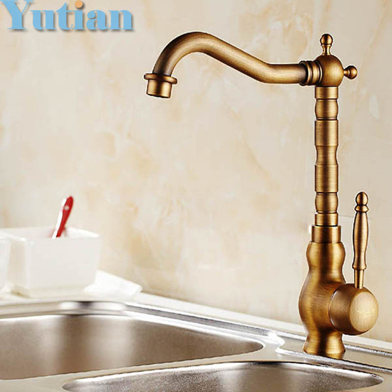 Free shipping Kitchen Faucet Antique Brass Swivel Bathroom Basin Sink Mixer Tap Crane,torneiraYT-6031 antique brass swivel spout dual cross handles kitchen