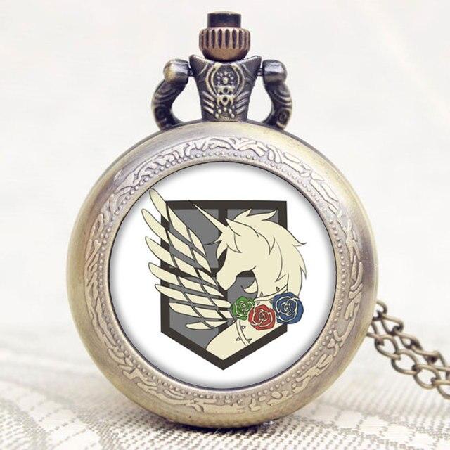 Attack on Titan Bronze Quartz Pocket Watch