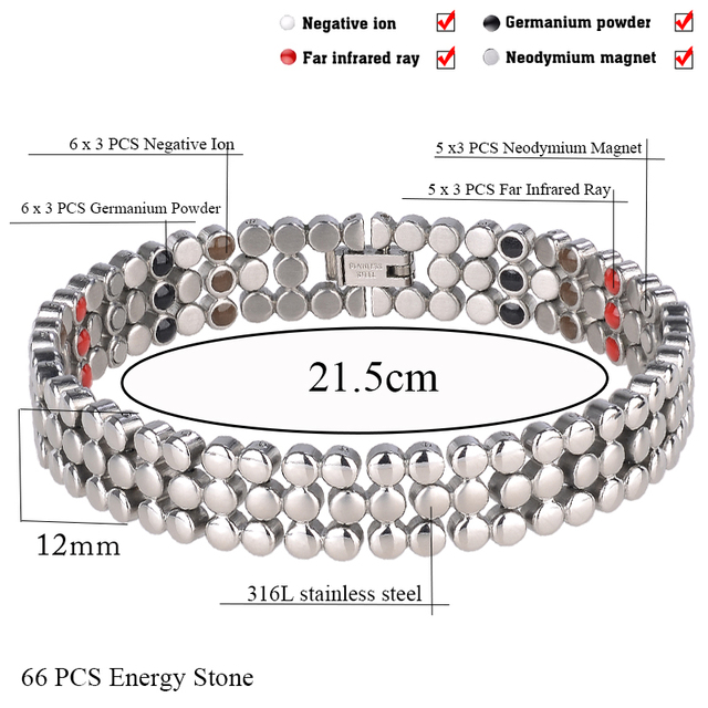 66 PCS Energy Stone 316L Stainless Steel Magnetic Bracelet