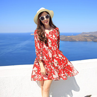Ladies Summer Dresses Bikini 2017 Red Boho Floral Chiffon Sleeve Chiffon Seaside Beach Female Dress Pleated
