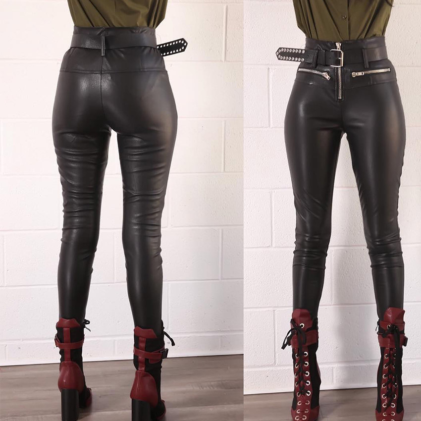 High Waist Faux PU Leather Leggings Women Front Zipper Sexy Slim Skinny Pencil Legging Leggins Fashion Punk Pants