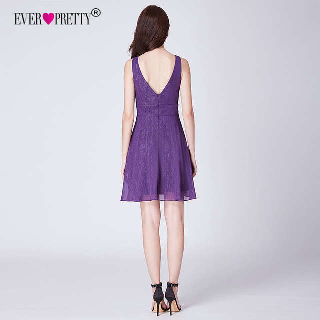 5ac967d38f8b0 US $27.99 30% OFF|Dark Purple Graduation Dresses 2018 Ever Pretty EP03027DP  Elegant A Line V Neck Short Homecoming Party Gowns Robe De Soiree-in ...
