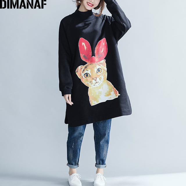 DIMANAF Women Plus Size Winter Hoodies Sweatshirts Cotton Thicken Female Clothing Pullover Turtleneck Loose Rrint Cartoon 2018
