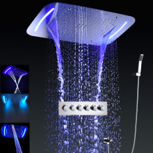 Luxury Rain Shower Set Multifunction Faucet Shower Panels Recessed Big Waterfall Bath Thermostatic Shower Mixer / hand shower
