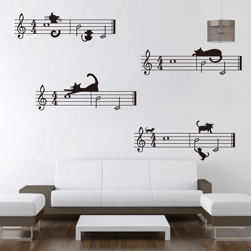 envío gratis de gran tamaño Cute cartoon cat y Staff note combinación Musical Wall Stickers, music bedroom decor