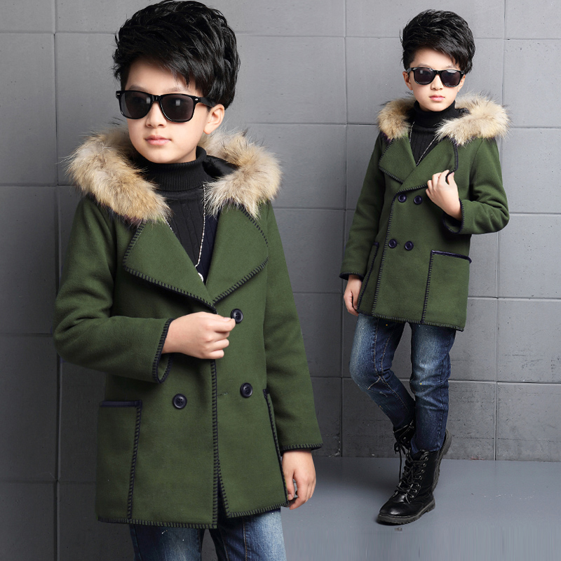 ФОТО high quality male child woolen outerwear clothing thickening child medium-long fur collar woolen overcoat