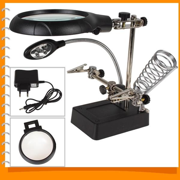 2 5x 7 10x Led Light Magnifier Desk Lamp Helping Hand Repair Clamp Alligator