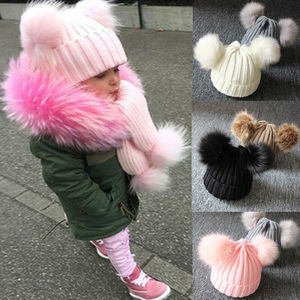 Autumn Unisex Infant Baby Warm Winter Knit Beanie Double Fur Pom Bobble Hat Crochet Cap Newborn Baby Hat