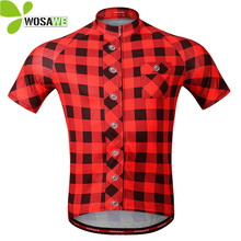 WOSAWE Summer Pro Team Plaid Cycling Jersey Men Short Sleeve T Shirt MTB Bike Bicycle Breathable Sportswear Cycle Clothes M-3XL
