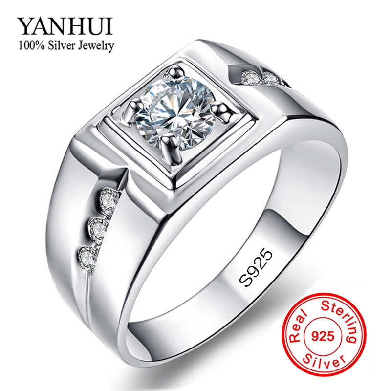 classic men ring 925 solid silver wedding rings for men set - Cheap Wedding Rings Under 100
