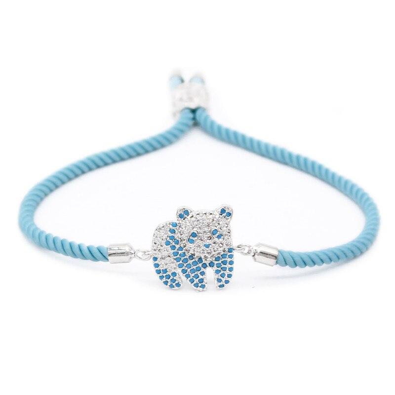 Poshfeel Cubic Zirconia Cute Panda Charm Bracelet Blue Rope String Women Bracelets Gift MBR180040