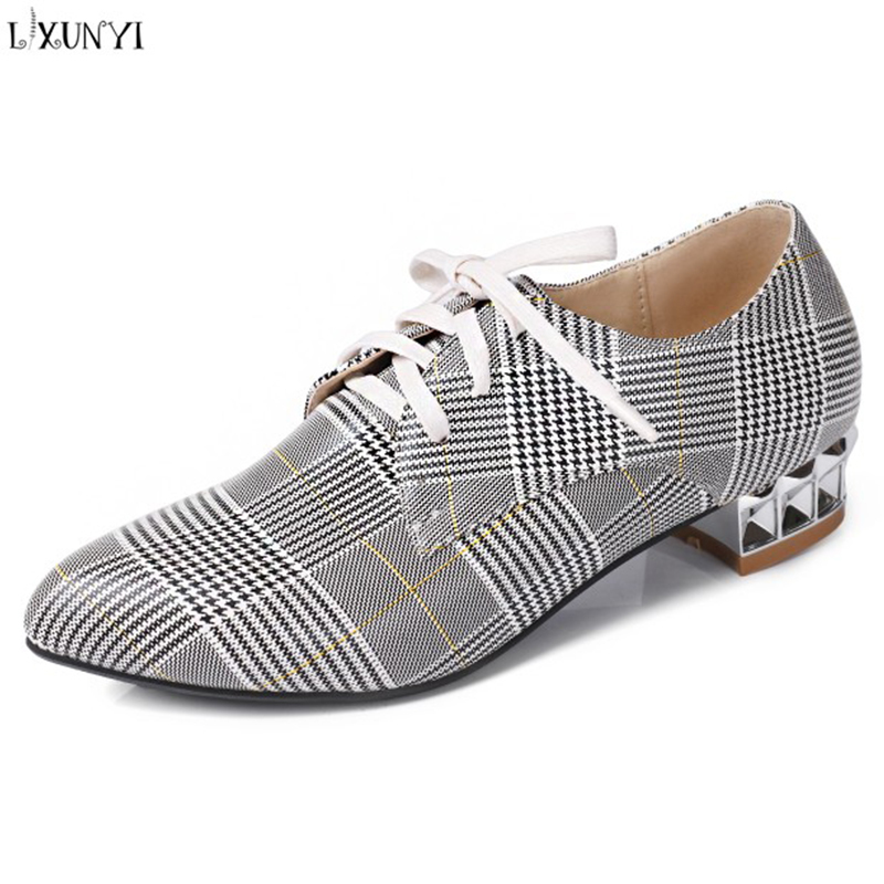 LXUNYI Pointed Toe Pumps Square Heel Shoes Women Cross Tied High Heels Spring Autumn Mary Janes Beige White Pink Ladies Shoes large size 42 rhinestone shoes women low heel pumps pointed toe genuine leather shoes women high heels mary janes ladies shoes