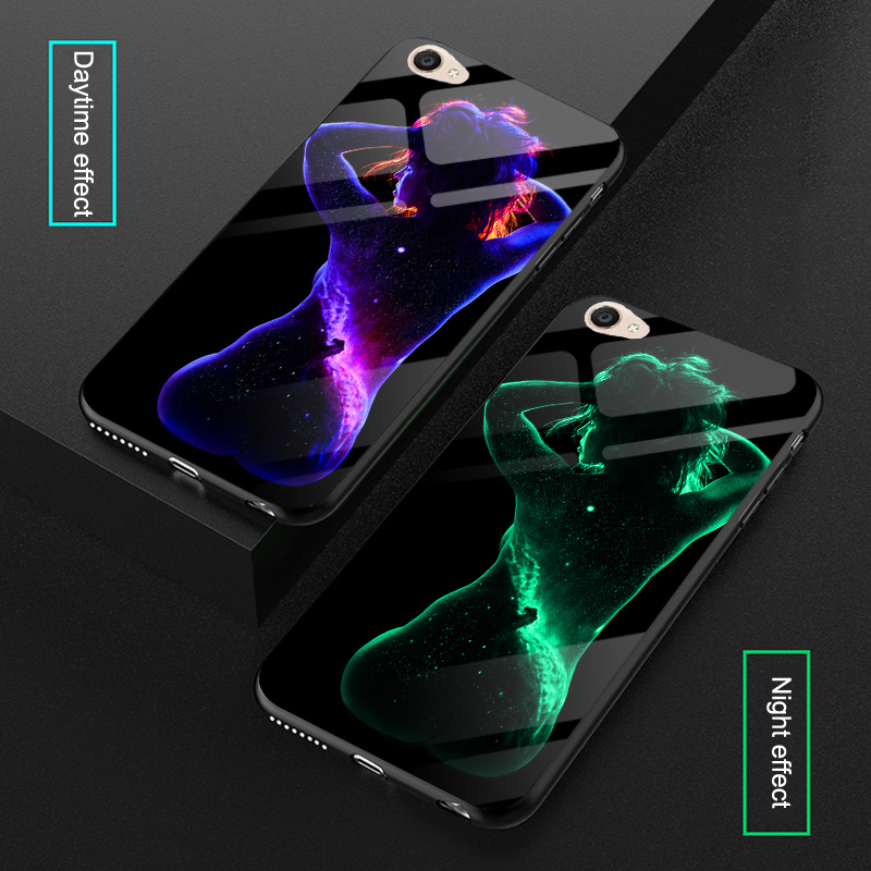 Luminous Sexy Body Art Glass <font><b>Cases</b></font> For BBK <font><b>Vivo</b></font> V3 / V3 Max <font><b>V3max</b></font> A Space Back Cover Coque <font><b>Case</b></font> For <font><b>Vivo</b></font> Y55 Y55A Glow <font><b>Case</b></font> image