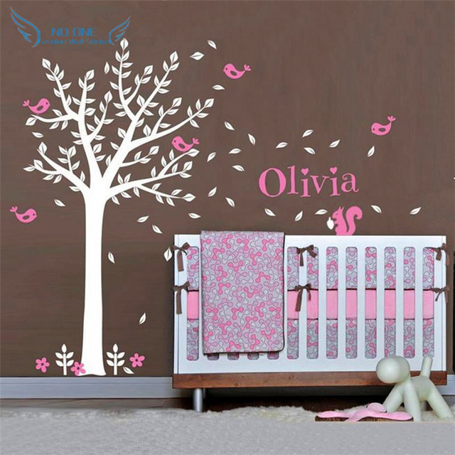 Vinyl Wall Decals One Color Tree Cute Squirrels And Birds With Custom Name Baby Nursery