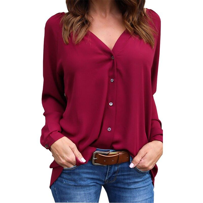 Cheap Price Blouse Women New Fashion 2019 Aliexpress V-neck Fold Button Long-sleeved Loose Chiffon Shirt Blusa Feminina Vestidos Eff6173 Blouses & Shirts