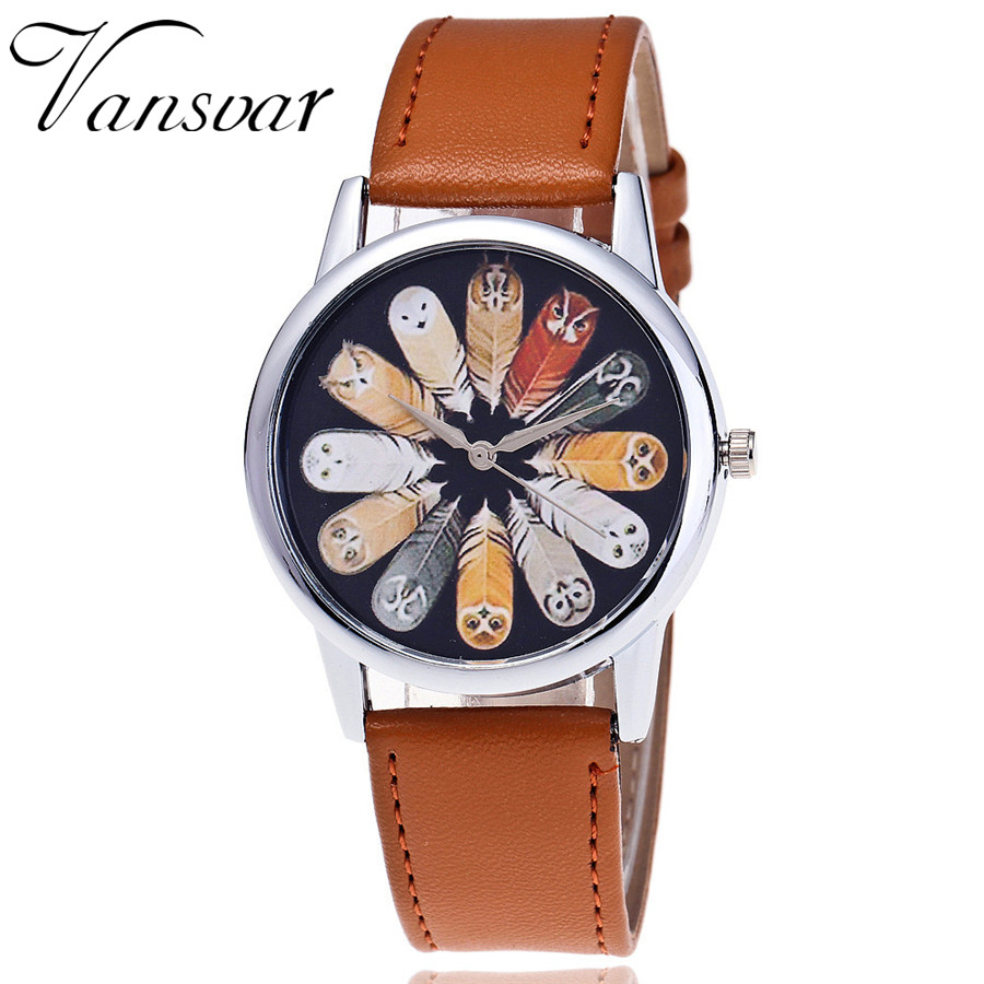 【vansvar Brand Leather Feather Wrist Wrist Watch Casual