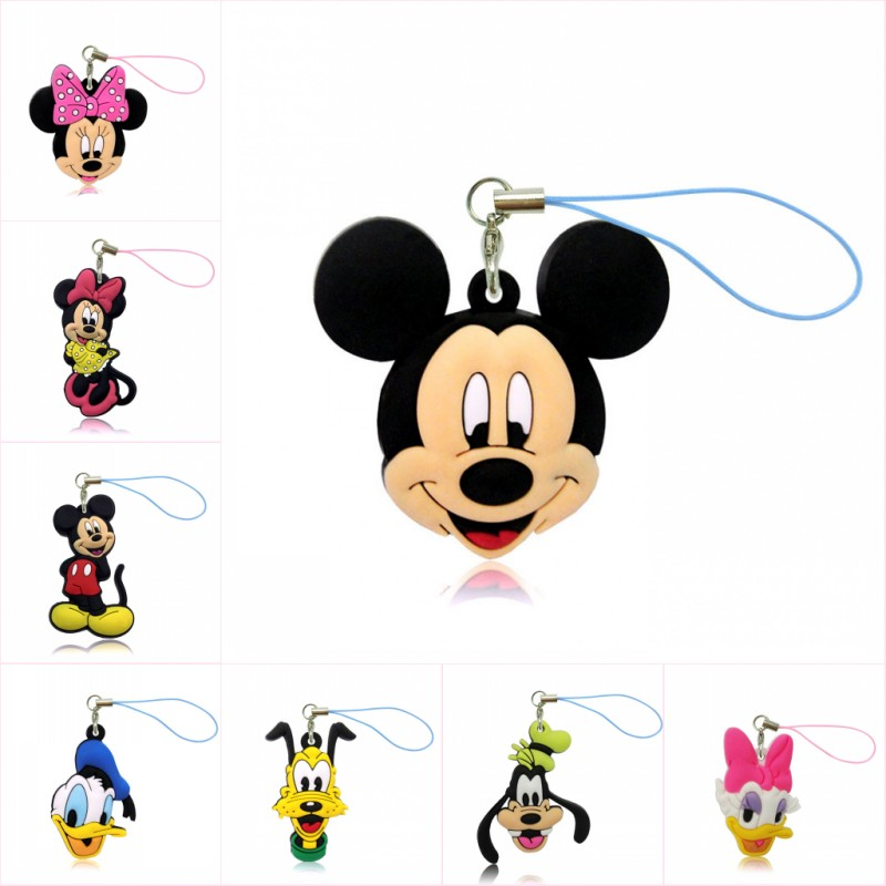 12pcs Cartoon Mickey PVC Cell Phone Decor Hanging Ornaments Minnie Keychain Bag Accessories Kid Gift Fashion Jewelry