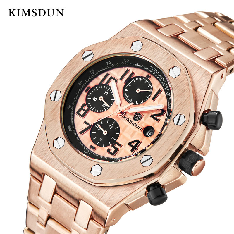 KIMSDUN automatic watch men Automatic Self Wind 3Bar Water Resistant Stainless Steel strap fashion luxury brand Reloj de hombre Mechanical Watches     - title=