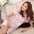 Пижамы женщин сексуальная ночная рубашка шелк короткие вышивка прекрасный платье твердые гладкий сатин хлопок мягкая удобная ночная рубашка для женщин