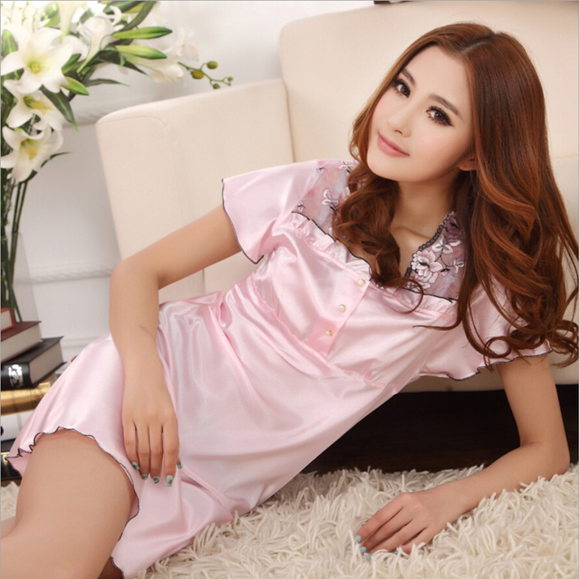 d94e2ece13f4 pajamas women sexy nightgown silk short embroidery lovely dress solid  smooth satin cotton soft comfortable nightgown