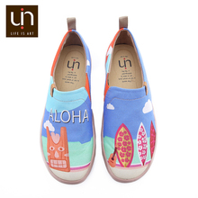 UIN Sandy Beach Design Painted Men Casual Shoes Breathable Slip on Sneakers Trendy Travel Flats Male Loafers