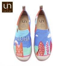 UIN Sandy Beach ทาสี Men รองเท้าสบายๆ Breathable SLIP ON รองเท้าผ้าใบอินเทรนด์ท่องเที่ยว Flats Loafers ชาย