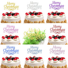 20 pcs/lot Merry Christmas Cake Toppers Flags Kids Happy Birthday Glitter Cupcake Topper Wedding Baby Shower Party DIY Baking