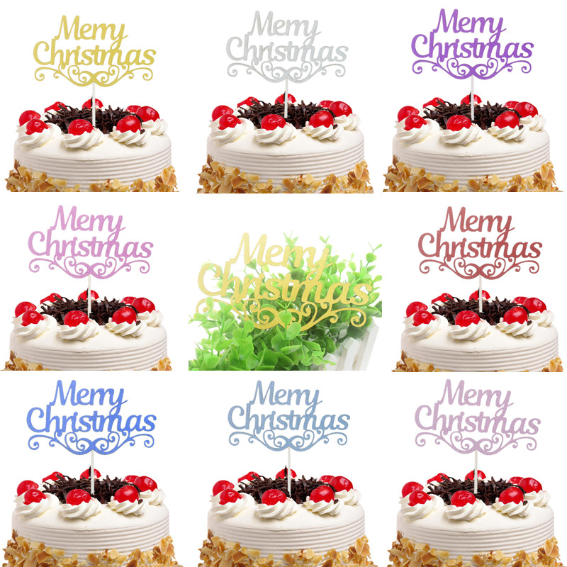 20 pcs/lot Merry Christmas Cake Toppers Flags Kids Happy Birthday Glitter Cupcake Topper Wedding Baby Shower Party DIY Baking image