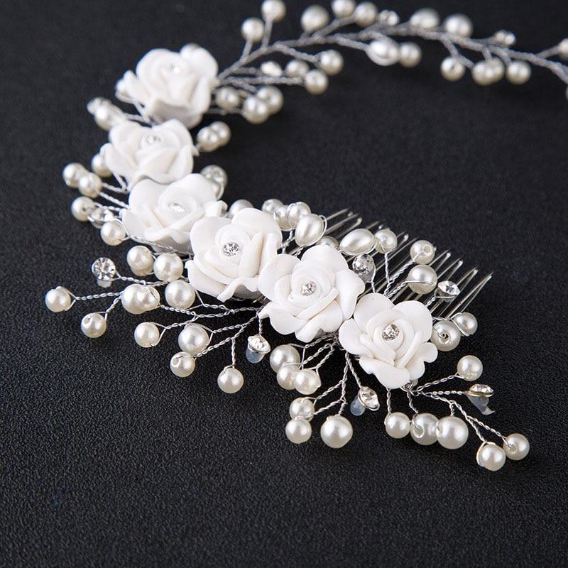 Pearl Flower Hairband საქორწილო - მოდის სამკაულები - ფოტო 3