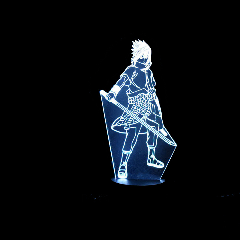 7 Color Changing Led Kids Bedside Sasuke Modelling 3D Visual Anime USB Desk Lamp Home Decor Naruto Night Lights Lighting Fixture 7 color change 3d led visual naruto modelling anime figure night light kids touch button usb table lamp home decor lighting gift