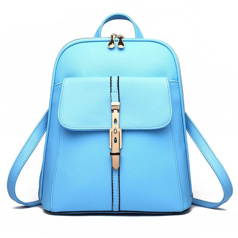 Elegant PU Pratical Schoolbag Casual Traveling Bag Buckle Zipper Women Backpacks Sky Blue fashion traveling pratical elegant fuchsia pu women girl s backpack bag students schoolbag